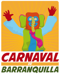 Happy Colorful Marimonda Celebrating in Barranquilla's Carnival, Vector Illustration