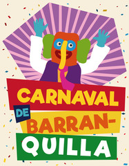 Colorful and Festive Promotional Poster with Marimonda for Barranquilla's Carnival, Vector Illustration
