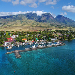 Aerial View - Lahaina Harbor & West Maui Mountains - Hawaii