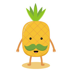 Cartoon pineapple with a mustache on a white background