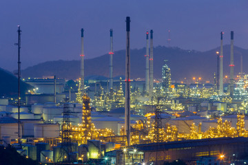 Night view over Oil refinery aerial view, industrial landscpae background