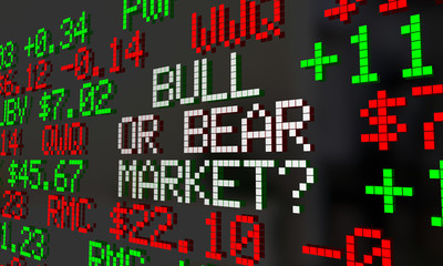 Bull or Bear Market Stock Ticker Economy Trends 3d Illustration