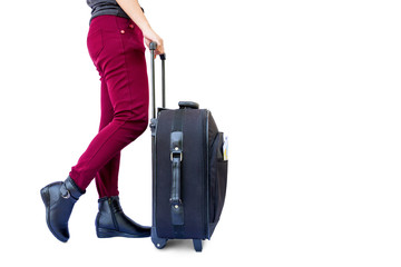 woman legs with a suitcase