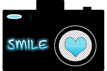 A graphic design of a black camera with a turquoise heart used as the lens and SMILE on the front