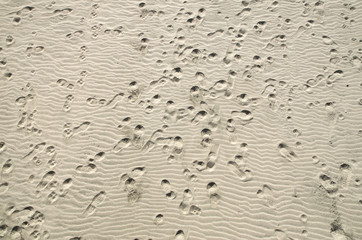 Human footprints in dry sand closeup