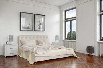 Modern eingerichtetes Schlafzimmer in einer sanierten Altbauwohnung, in Berlin
