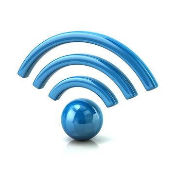 3d illustraion of blue wifi icon