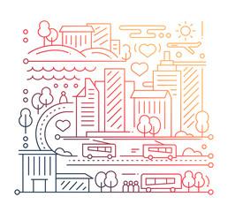 City Life - line design composition - color gradient