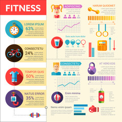 Fitness - vector flat design illustrative template with infographic elements
