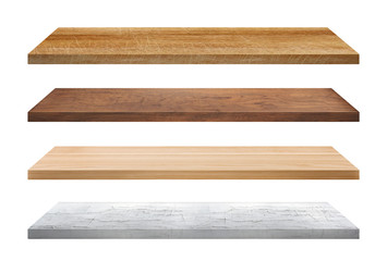 Wooden Shelves collection isolated on white background.