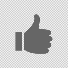 Like sign vector icon EPS 10. Thumb Up simple isolated symbol on transparent background.