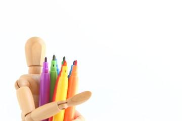 デッサン人形とカラーペン