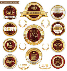 Golden badges and labels with laurel wreath collection