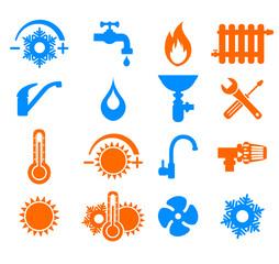 symboles plombier chauffage climatisation
