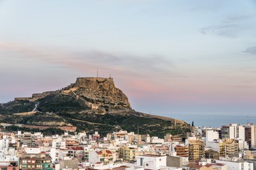 Aerial view of Alicante at the sunset, Costa Blanca, Valencia province. Spain.