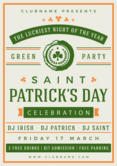 Saint Patricks Day Retro Typographic Party Poster Background