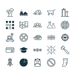 Set Of 25 Universal Editable Icons. Can Be Used For Web, Mobile And App Design. Includes Elements Such As Crooked Graph, Society, Wireless Router And More.