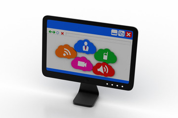 Computer monitor showing social media icons