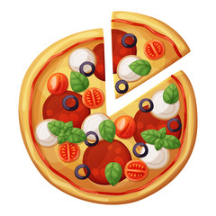 Pizza top view. Cherry tomato, sausages or salami, mozarella, olives, basil leaves. Cartoon vector food illustration isolated on white background