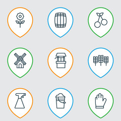 Set Of 9 Farm Icons. Includes Decorative Plant, Wheat, Water Source And Other Symbols. Beautiful Design Elements.