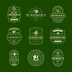 Happy Saint Patricks Day Retro Typographic Badges Set