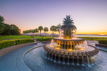 Fototapete -   Pineapple Fountain at Charleston, South Carolina