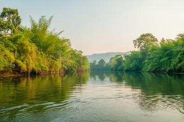 View of Khwae Yai river and trees from a floating raft at Kanchanaburi, Thailand