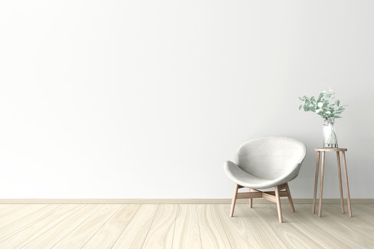 3d illustration of empty wall white interior
