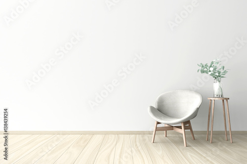 3d illustration of empty wall white interior zdj for Four blank walls