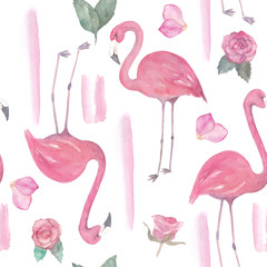 Canvas Prints Flamingo Watercolor seamless pattern with exotic flamingo, flowers. Summer decoration print for wrapping, wallpaper, fabric
