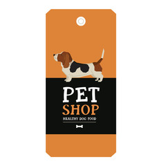 Poster Pet Shop Design label Vector Illustration Basset Hound
