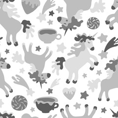 Seamless pattern with unicorns, stars, hearts and coffee cups.
