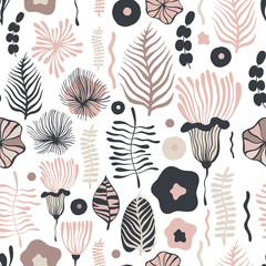 Vector flower pattern. Seamless botanic texture, detailed flowers illustrations. Can be used for wallpaper, web page background, surface textures...