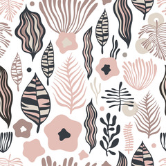 Vector flower pattern. Seamless botanic texture, detailed flowers illustrations. Can be used for wallpaper, web page background, surface textures.