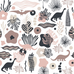Vector seamless pattern with fantastic flowers and dinosaurs. Can be used for wallpaper, web page background, surface textures.