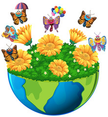 Earth theme with butterflies and flowers
