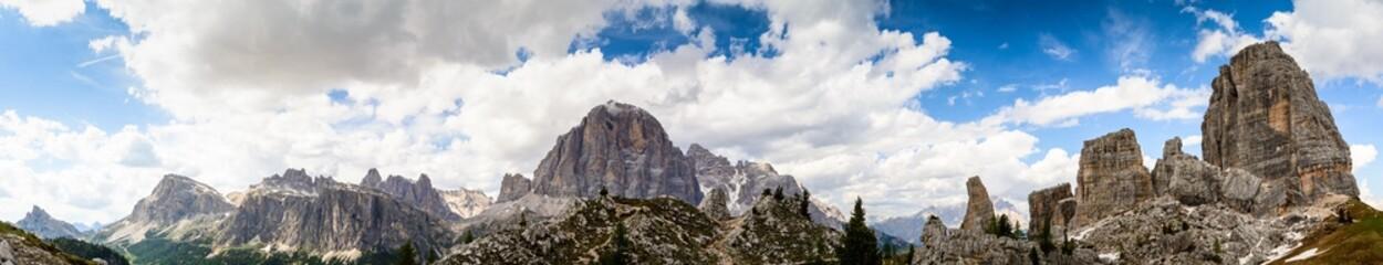 Panorama of high mountain monuments at cinque torri