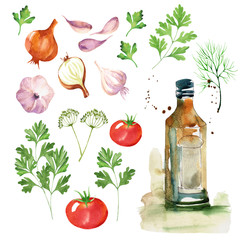Food design set with tomatoes, cucumbers onions, dill, parsley, olive oil and garlic watercolor. Vegetable background in hand drawn style. Isolated on white background.