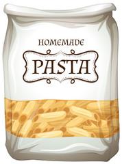 Homemade pasta in bag