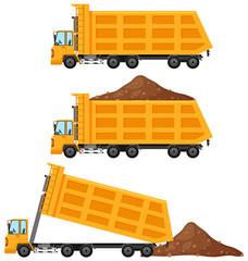 Dump trucks in three positions