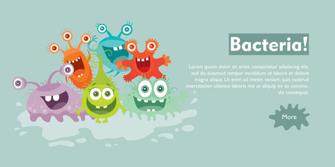 Bacteria Flat Cartoon Vector Web Banner