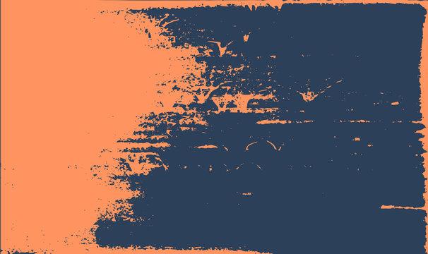 Grunge texture background. Abstract orange dark blue old rough retro design.