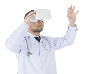 Doctor using a VR headset to check medical information