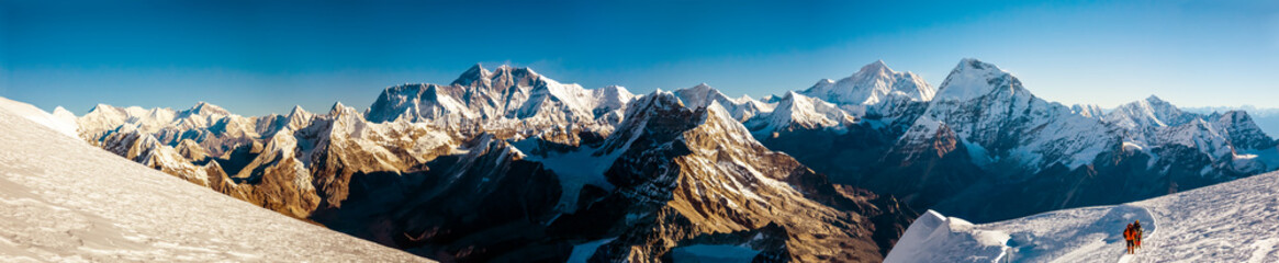 Panorama of Roof of the World Everest and other highest Peak