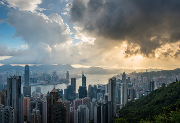 view of the city and the bay from Victoria Peak