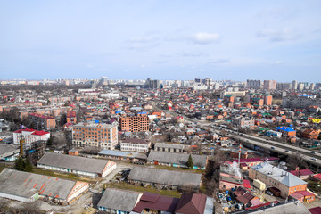 City landscape. The view from the heights of the 24th floor. Krasnodar city. Urban view.