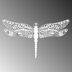 Dragonfly. laser cut white dragonfly on  background isolated. vector illustration