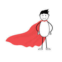 Cartoon superhero stick man with red cape