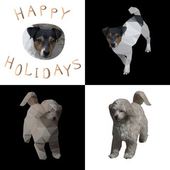 Vector illustration of four chess cells with dogs pictures in different styles and the words Happy Holidays 2018 by dog