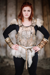 portrait of a girl in a Viking outfit
